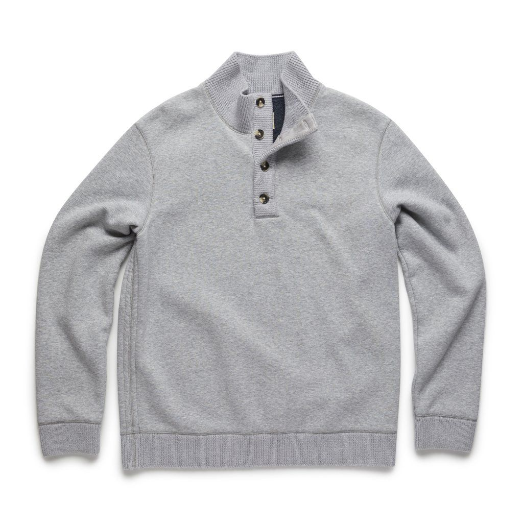 Manning Bonded Fleece Button Mock – Lt Grey Heather – Small / Light Heather Grey