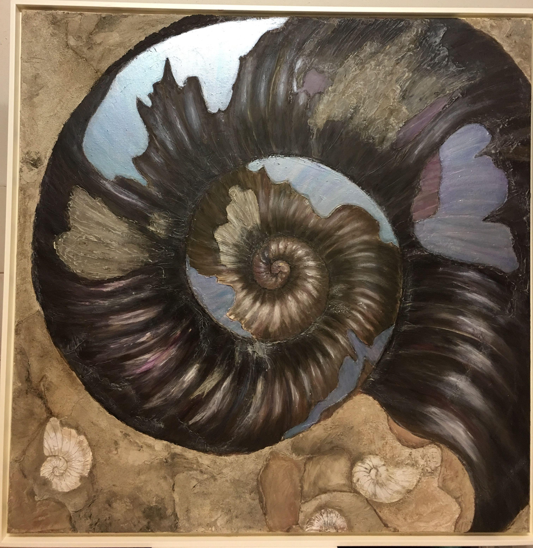 fossil amonit 100x100 acryl und spachtel auf leinwand 12 17 angelika kunze bilderwelten texturen malerei express 40x30