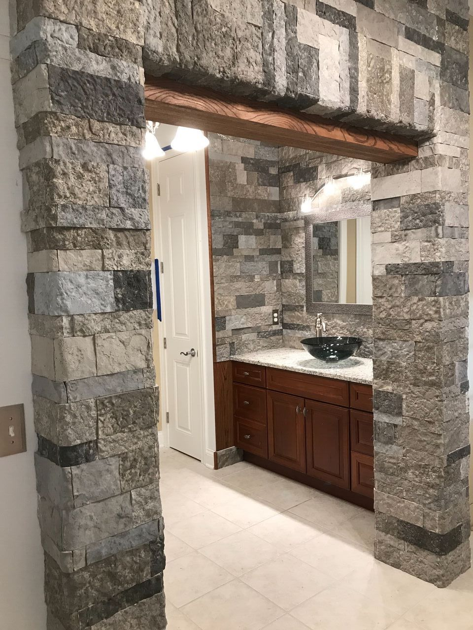 AirStone bathroom remodel. #fauxstone #DIY | Airstone ...