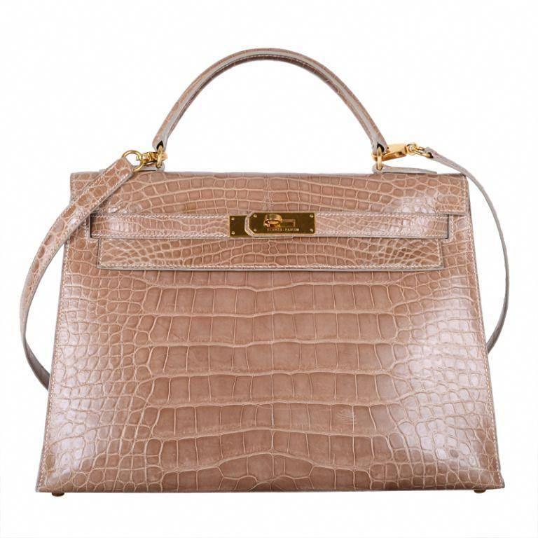 595963cd56eb DISCONTINUED HERMES KELLY BAG 32cm POUDRE ALLIGATOR GOLD HARDWARE    1stdibs.com  Hermeshandbags  Designerhandbags