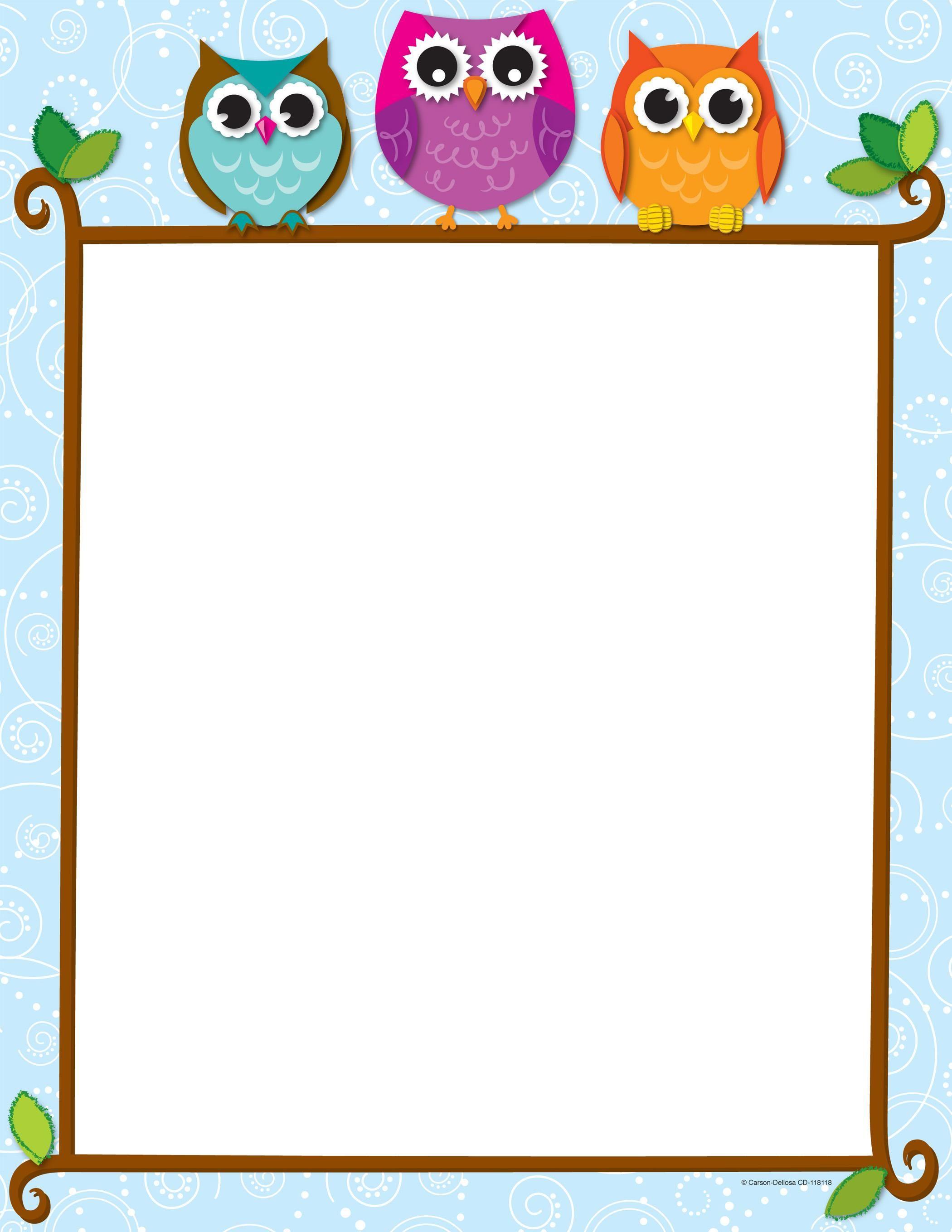 Free+Owl+Border+Paper | tarjetas para clases | Pinterest ...