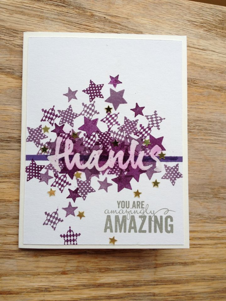 Wet Paint Stamp From PTI Embossed In Clear Confetti Bits Star Stamped SU Inks