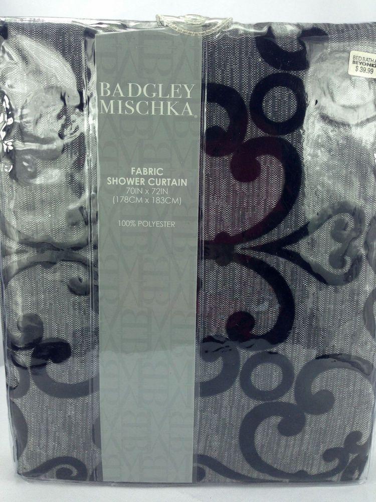 Badgley Mischka Fabric Shower Curtain Ariana Black Velvet Scrolls