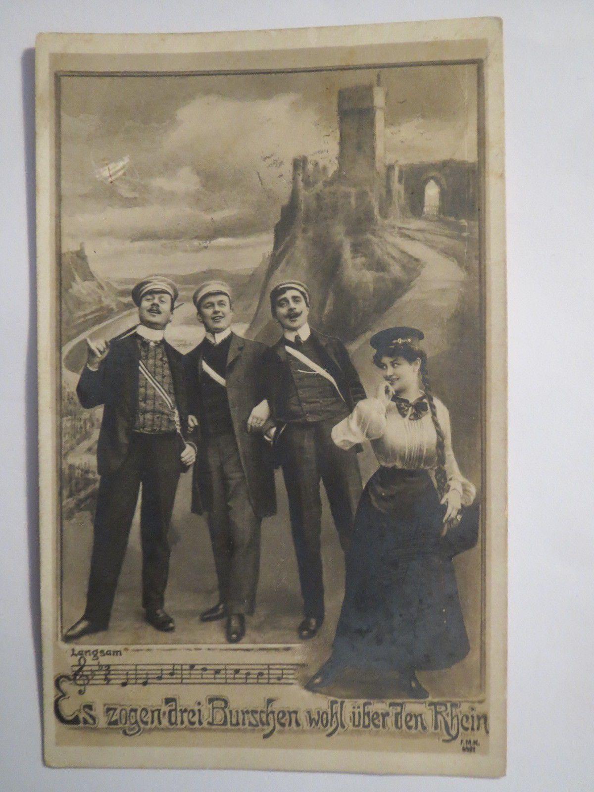 ES Zogen Drei Burschen Wohl Über DEN Rhein 1910 Studentika | eBay