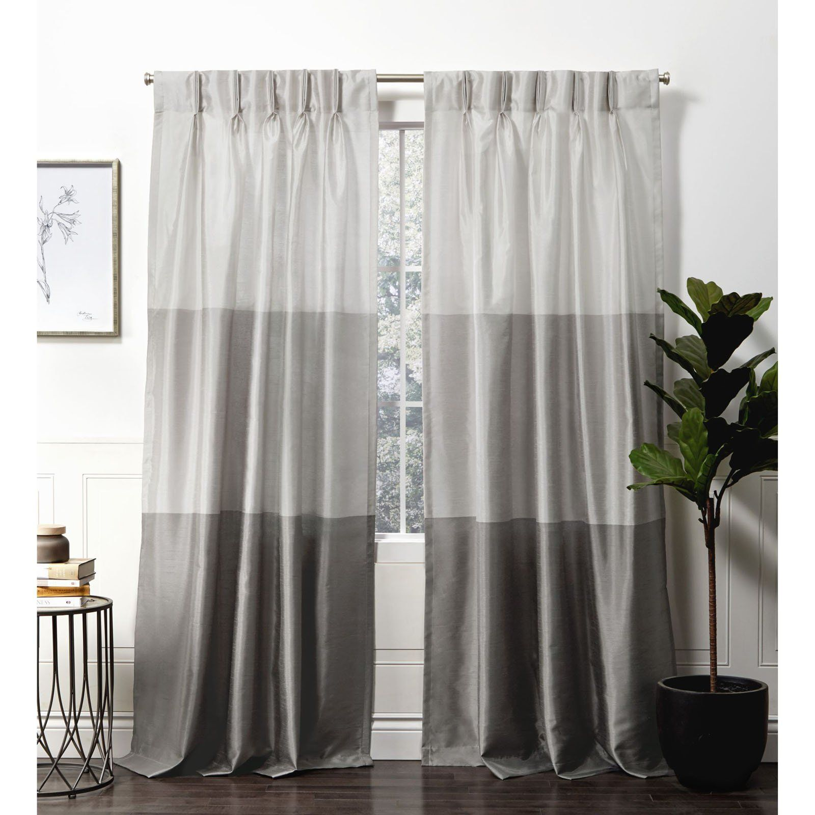 Exclusive Home Chateau Striped Faux Silk Pinch Pleat Curtain Panel Pair Teal Pleated Curtains Panel Curtains Pinch Pleat Curtains
