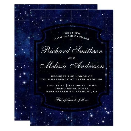 Dark Blue Midnight Starry Sky Wedding Invitation Zazzle Com In 2020 Midnight Blue Wedding Dark Blue Wedding Blue Themed Wedding