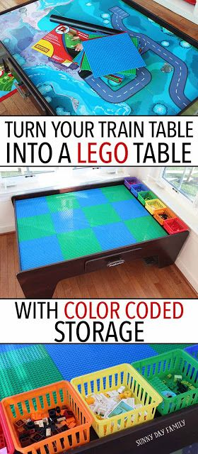 Turn Your Train Table Into a Lego Table with Color Coded Storage is part of Playroom Organization With Train Table - Transform a train table into a Lego table with this easy DIY  and organize your bricks too!