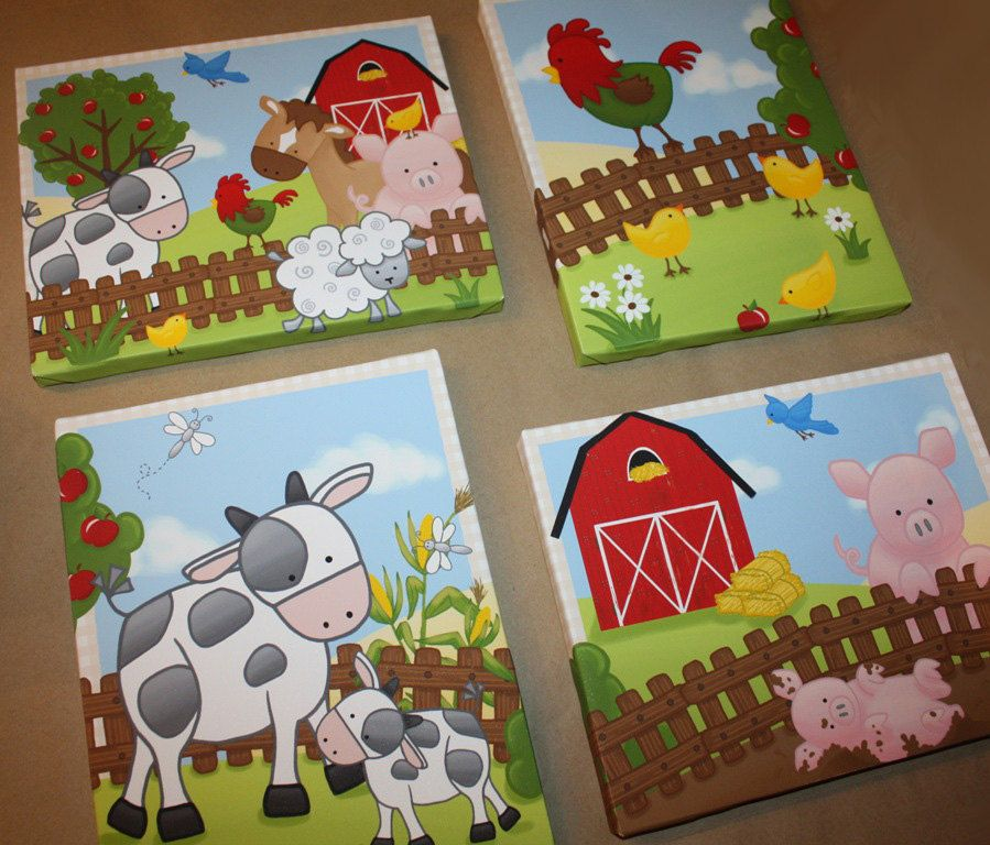 Set Of 4 Farm Animal Kids Bedroom 8x10 Stretched Canvases