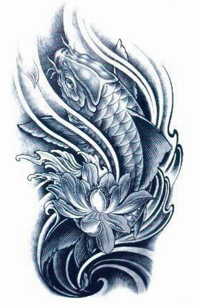 Black Koi With Lotus Flower Designs Tattoos Temporary Tattoo Sleeve Sticker For Men Women Body Fake Jpg 400 Koi Tattoo Design Tattoos Japanese Koi Fish Tattoo