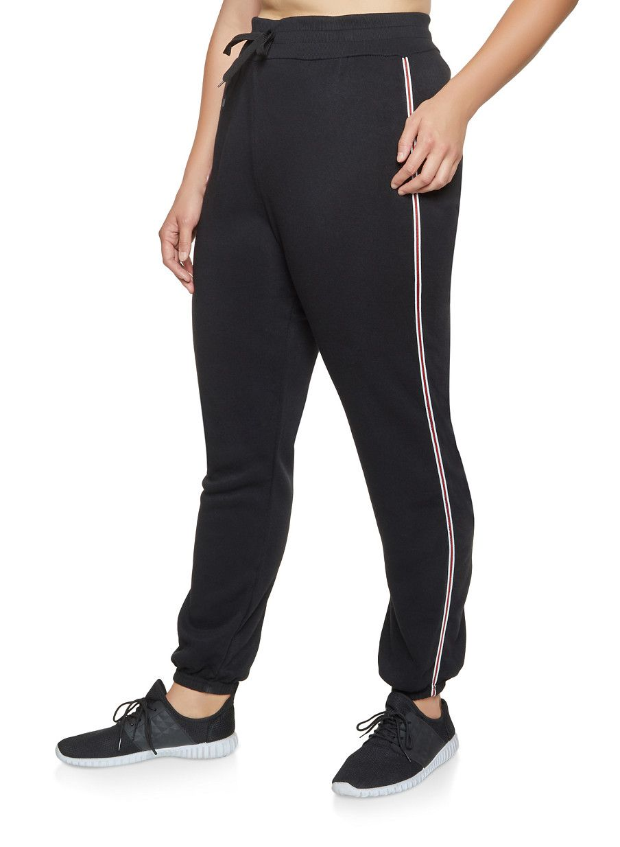 a0fb3f45d7f Plus Size Striped Tape Sweatpants -