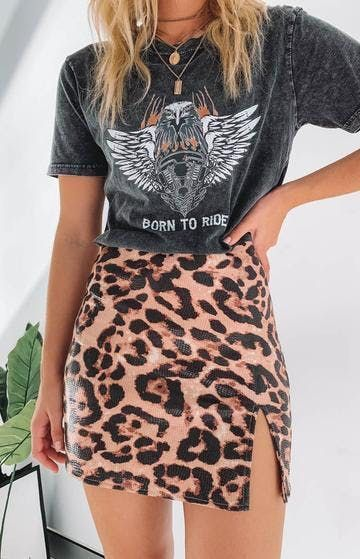 Glitterati Plush Shag Jacket -  Get wild and ready to party on your next night out with the Laura Skirt Leopard! Pair with a black  -