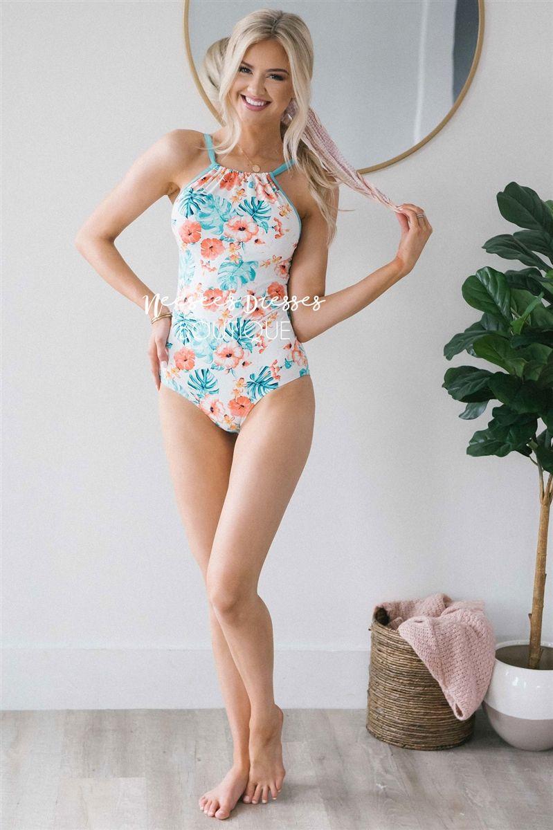 2cef9e837099a Tropical Floral Piece Modest Swimsuit