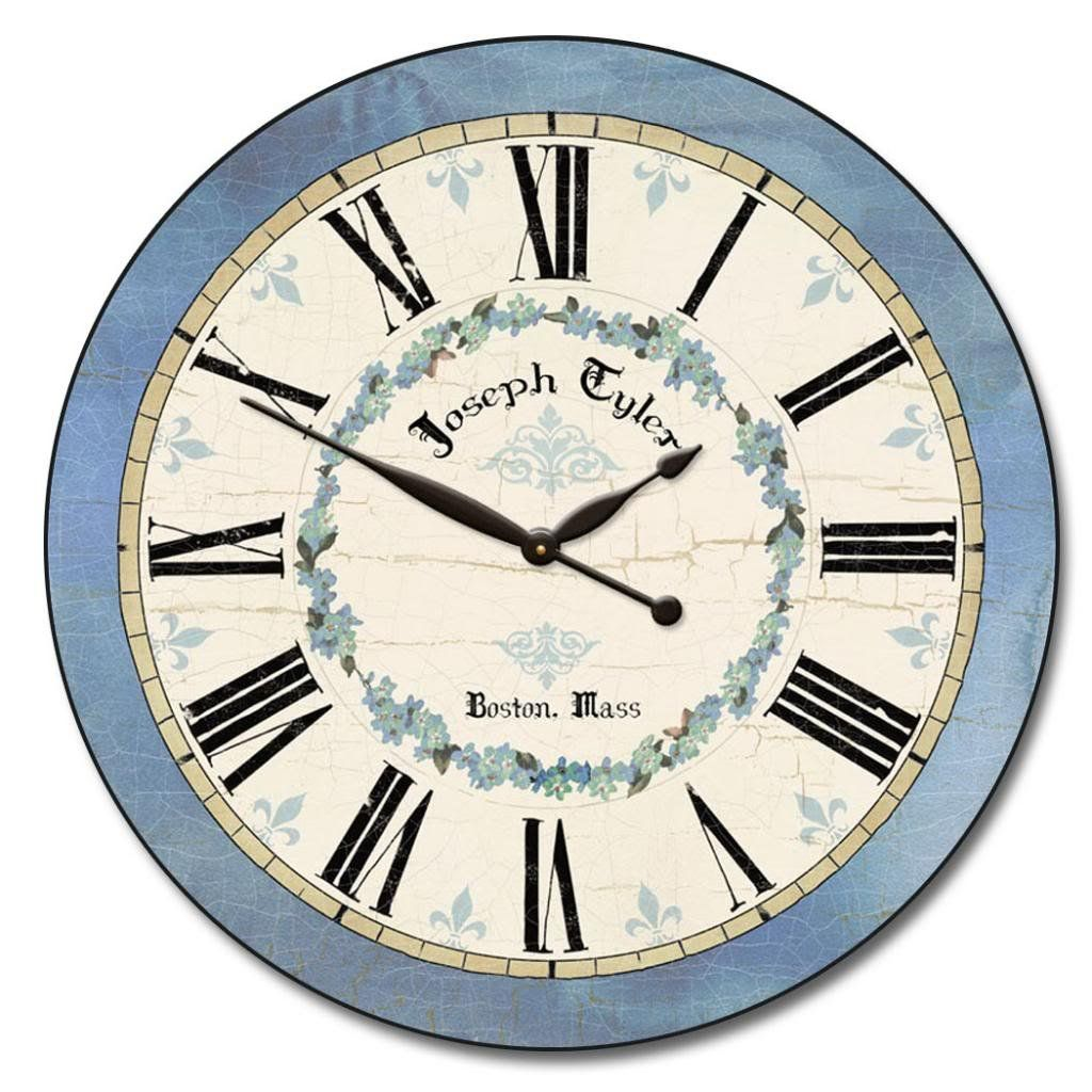 Blue Flower Wall Clock Available In 8 Sizes Most Sizes Ship 2 3 Days Whisper Quiet You Can Find More Wall Clock Distressed Wall Clock Vintage Wall Clock