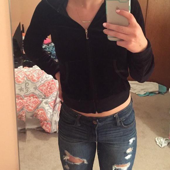 """JUICY COUTURE ZIP-UP  Cute juicy zip up! Back says """" it's exhausting being this juicy"""" the letters are cracked but other than that this sweatshirt is in great condition! Sweatshirt is that velour material on outside but not inside. Says it's a medium but I feel as though they run small. DONT BE AFRAID TO OFFER  Juicy Couture Tops Sweatshirts & Hoodies"""