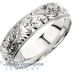Platinum 6 Mm Womens And Mens Hand Engraved Wedding Band