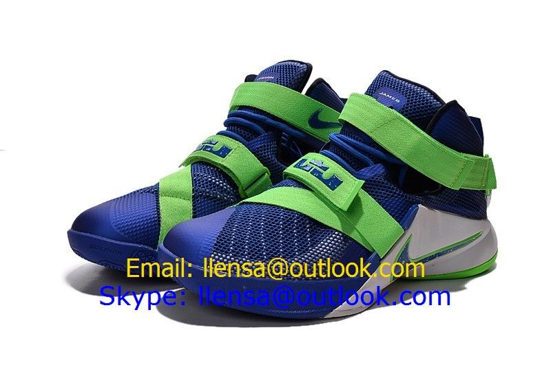 Nike LeBron Soldier IX EP 9 XDR Blue Green White Basketball Shoes 2015 New