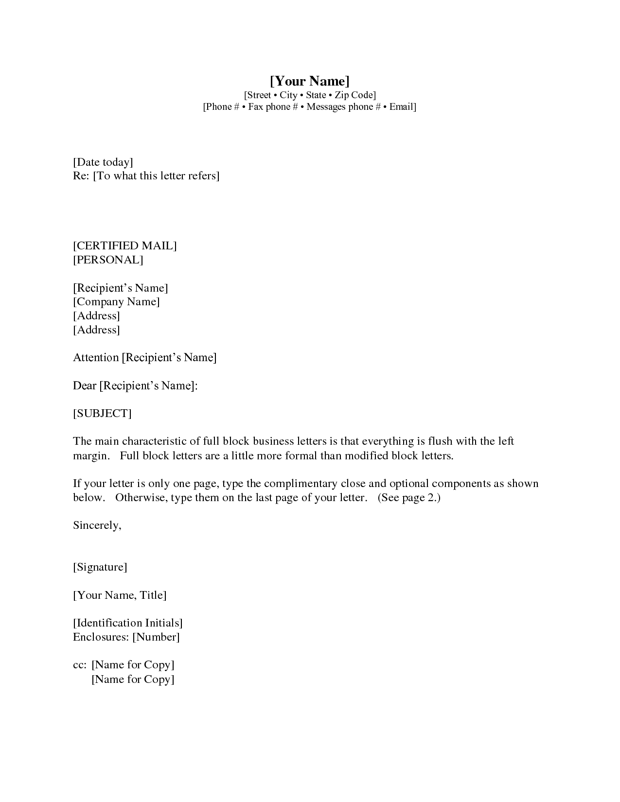 Gallery  Business Letter With Cc  Business Letter