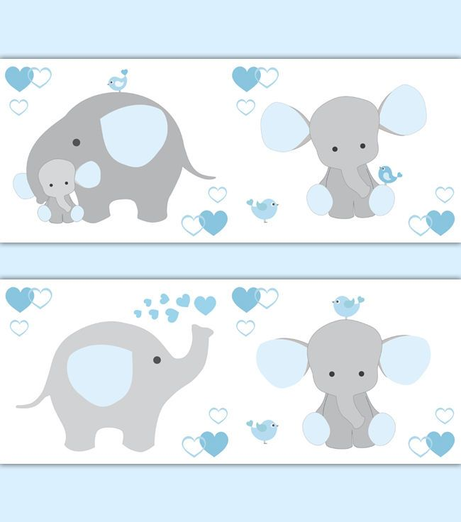 Blue Grey Gray Elephant Nursery Baby Boy Wallpaper Border Wall Art ...