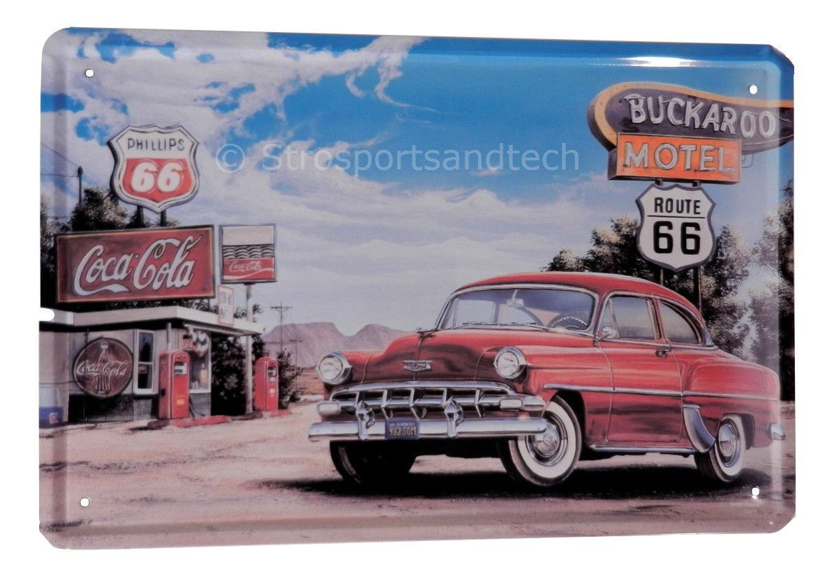 Route antique car gas funny tin sign bar garage home art wall