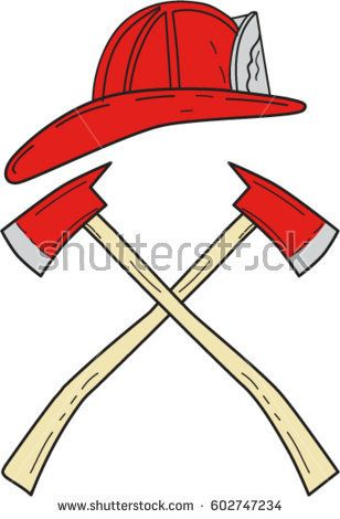 3517dc133fb Drawing sketch style illustration of a fireman helmet and two fire axe  crossed set on isolated white background.  fireman  drawing  illustration