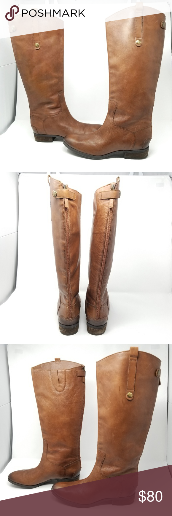 8266758e365 SAM EDELMAN Tall Brown Riding Boots 11M Leather knee high boots. Whiskey  tan brown riding