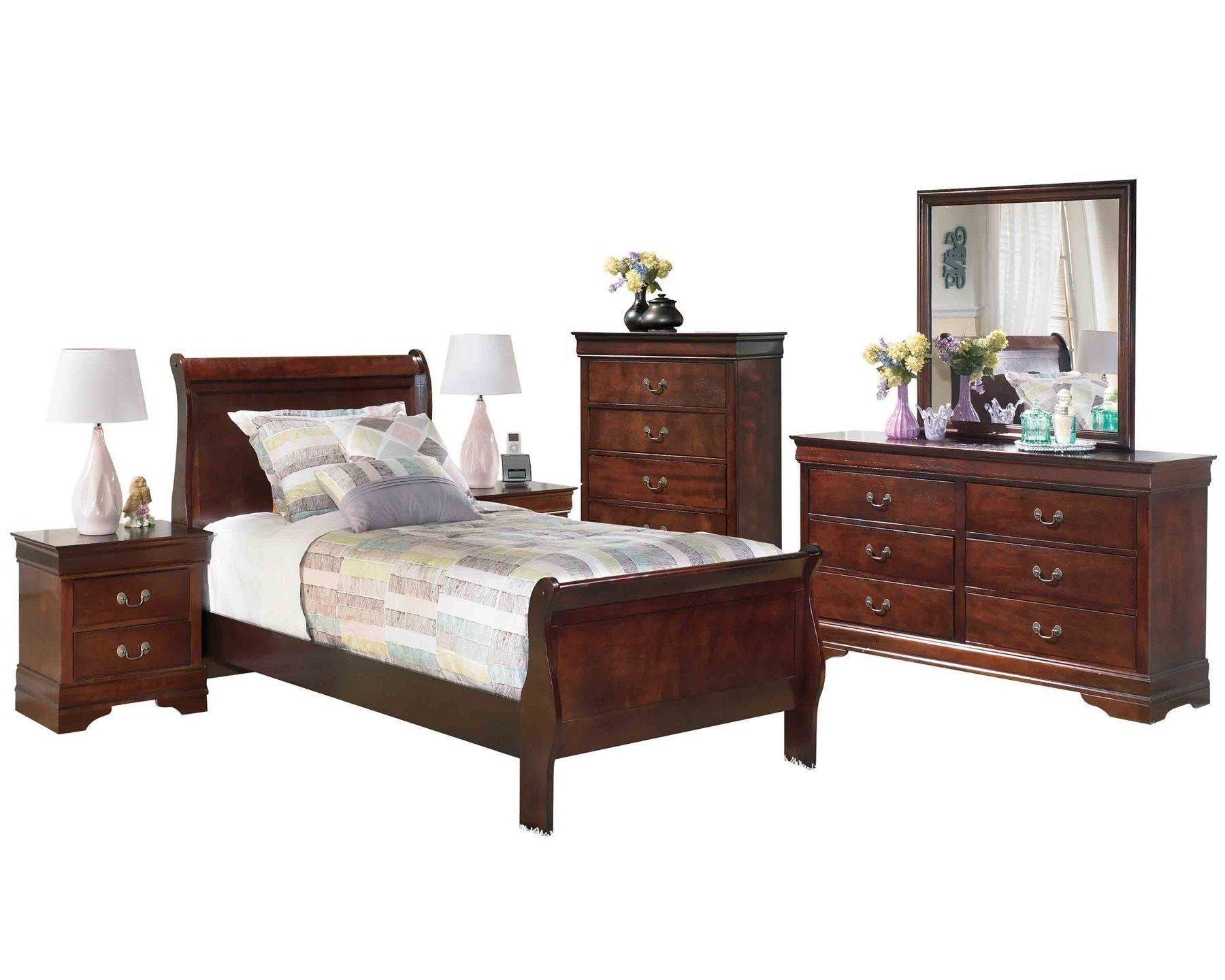 Ashley Alisdair 6pc Bedroom Set Twin Sleigh Bed Two Nightstand