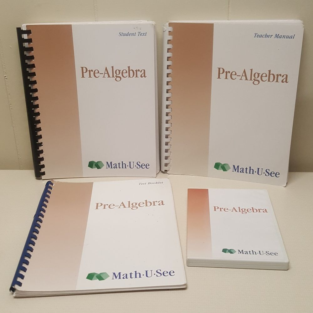 Pre Algebra Math U See Teacher Manual Test Booklet Student Text DVD ...