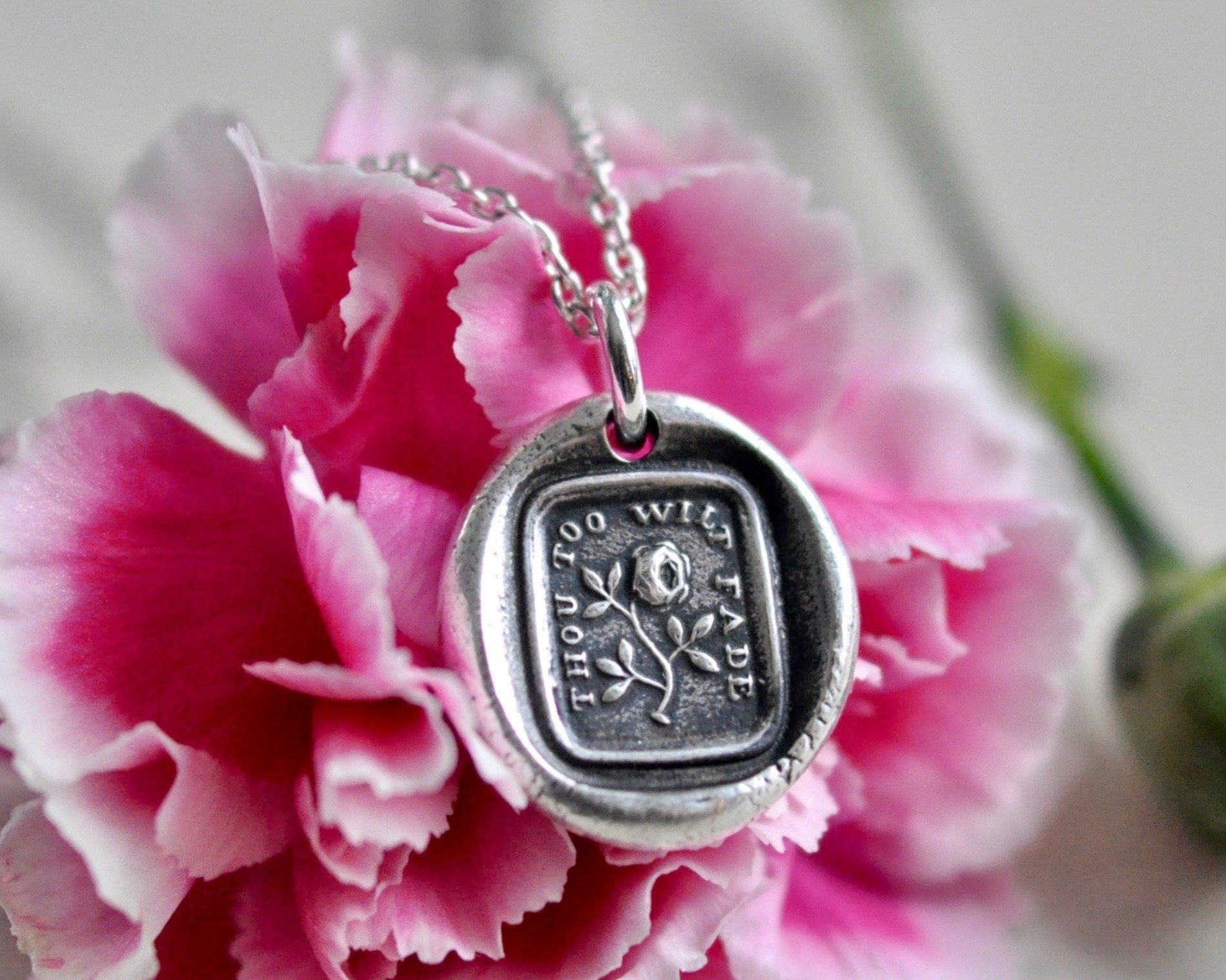 Rose wax seal necklace thou too wilt fade wax seal