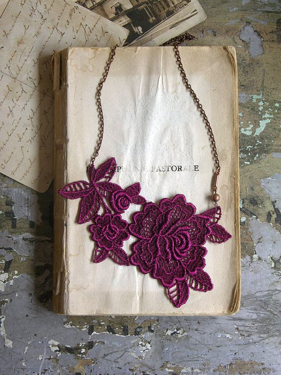 mirielle lace necklace in violet #necklace #fashion #handmade #etsy