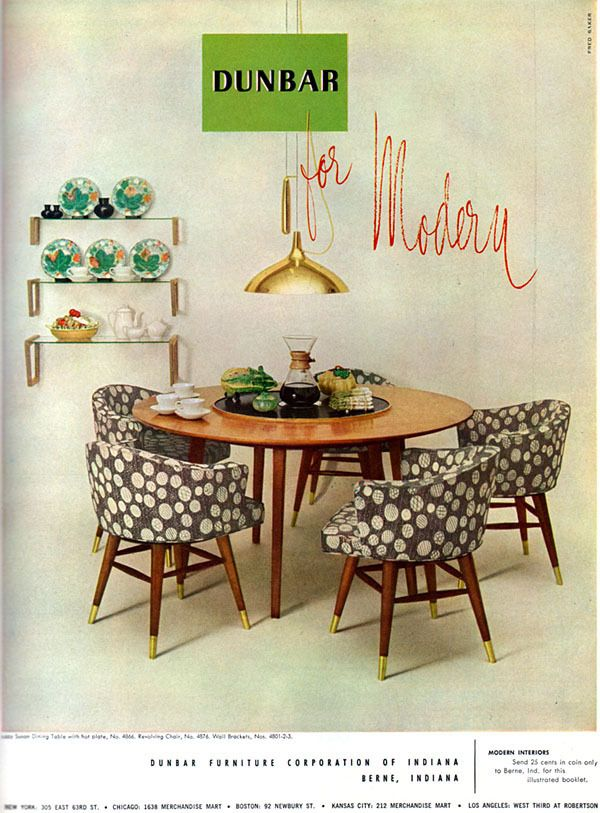 Dunbar MID CENTURY MODERN Lazy Susan Dining Table CHAIRS 1952 Color