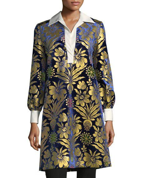 52693ef66b93 Thelma Long-Sleeve Cosmic Floral Foiled Velvet Dress