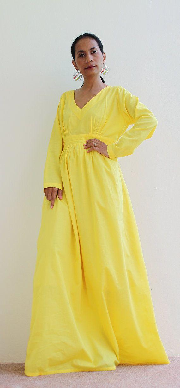 Maxi Dress Yellow Long Sleeve dress Feel Good by Nuichan on Etsy ...