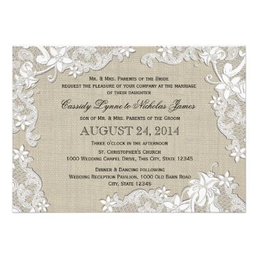 Vintage Burlap and White Lace Wedding Card