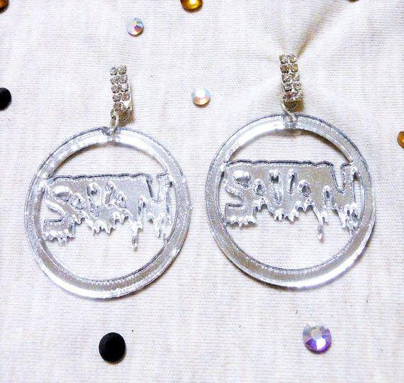 Drippy Mirror Silver SATAN Hoop Acrylic Earrings with Silver Rhinestone Earring Posts