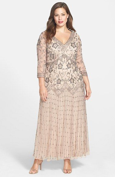 bd19ed4ef84 Pisarro Nights Beaded Mesh Gown (Plus Size) available at  Nordstrom. Esther