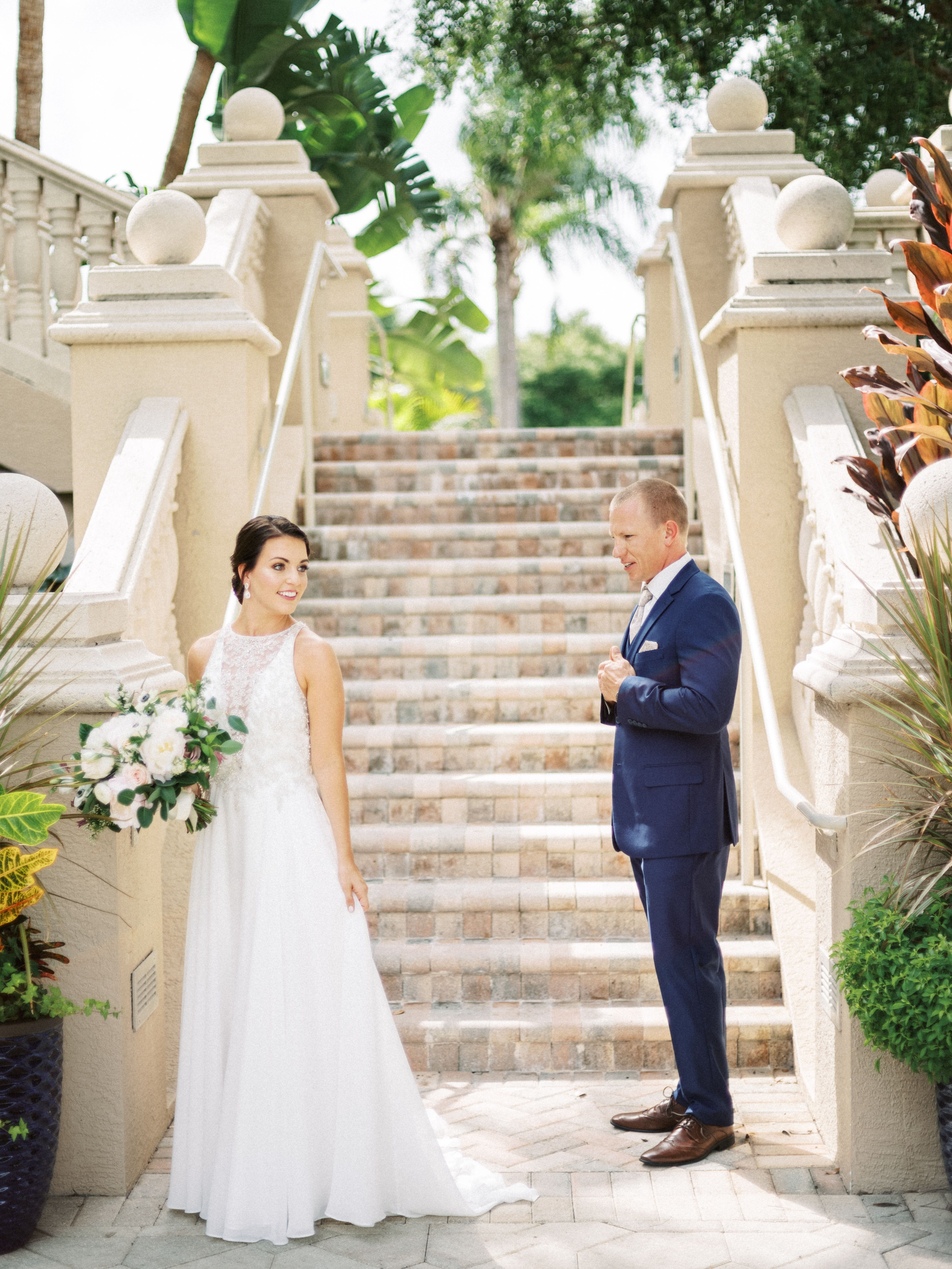Beautiful First Look Moment Club At The Strand Wedding Naples