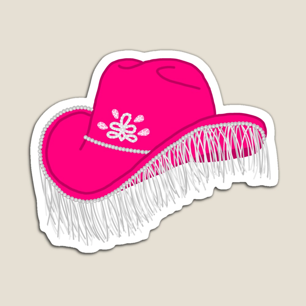 Pink Cowboy Hat By Logan Dorsey Redbubble Pink Cowboy Hat Preppy Stickers Cute Stickers