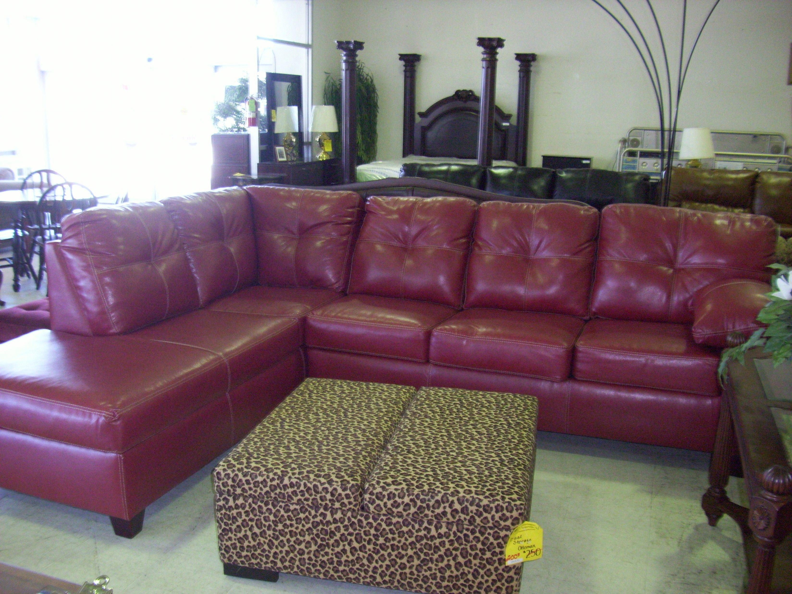 Living Room Decoration With Red Leather Sectional Sofa Feature L