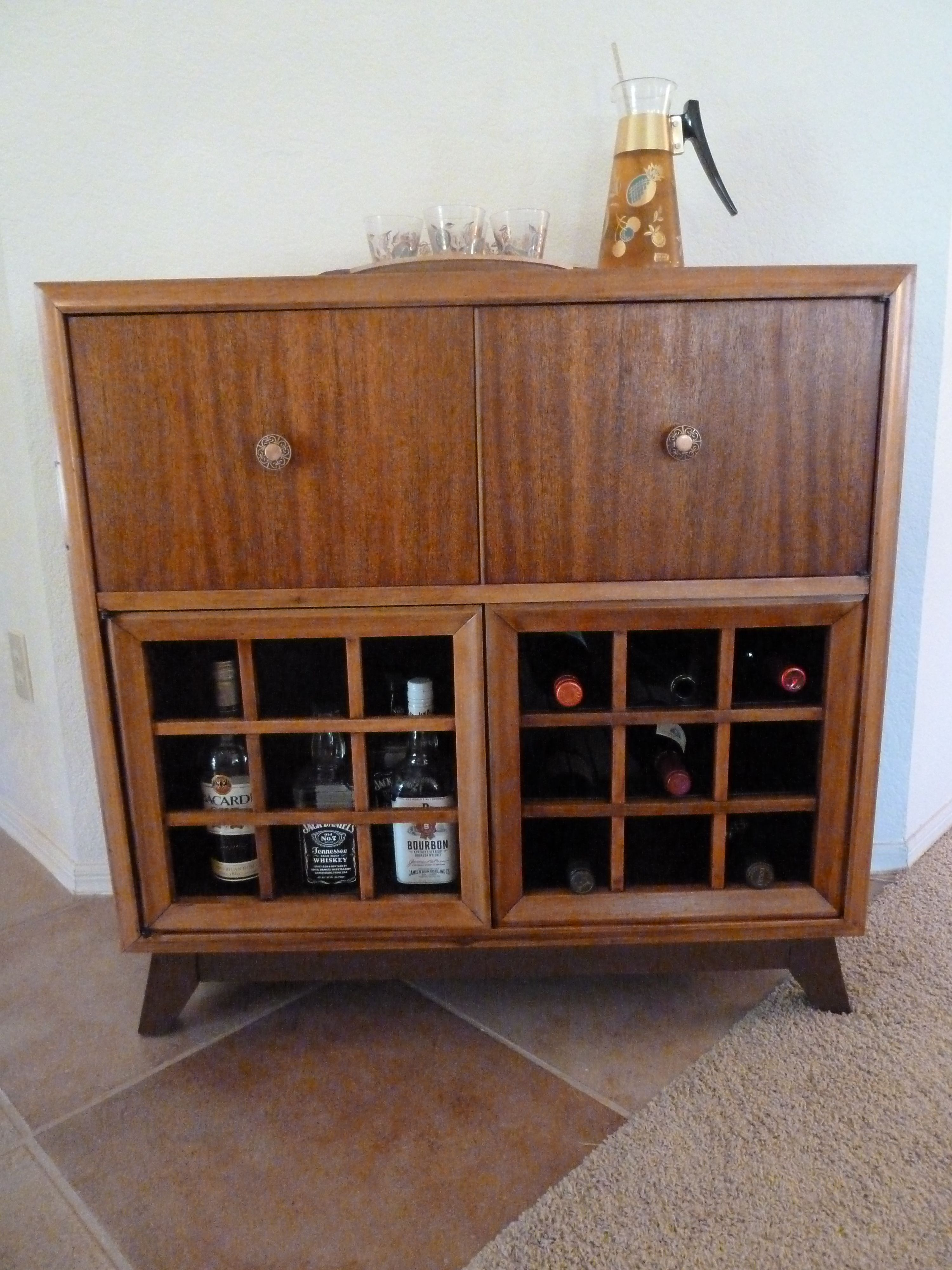 This Liquor Cabinet Was Repurposed From A Westinghouse Tv Radio Record Player