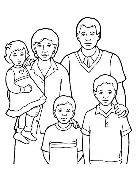 Family Of Five Standing Together Family Coloring Pages Family Picture Drawing Family Coloring