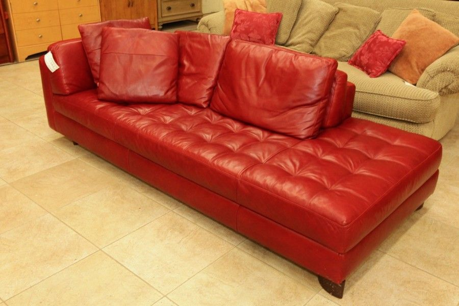 Natuzzi Red Leather Sofa/Chaise - Colleenu0027s Classic Consignment Las Vegas NV  : red leather chaise sofa - Sectionals, Sofas & Couches