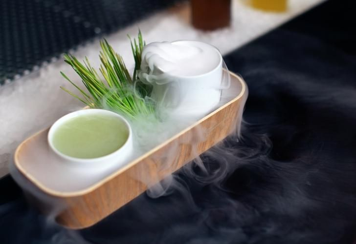 Rice Paddy cocktail complete with rolling fog.
