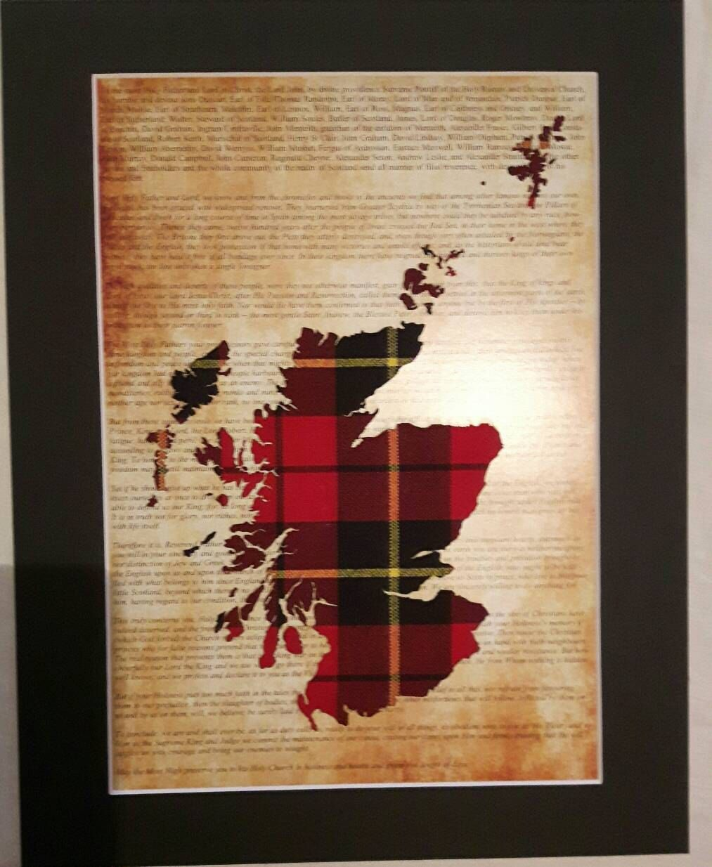 Scotland Map Tartan Picture On Declaration Of Arbroath Unique Scottish Gifts by BraveArtGifts on Etsy