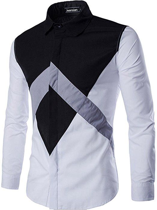 Men Long-Sleeves Autumn Stitching Striped Lapel Teenager Boy Shirt Cardigan