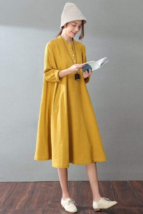 0923ac53ccc4 Spring Yellow Casual Cotton Linen Dresses Long Sleeve Shirt Dress Women  Clothes