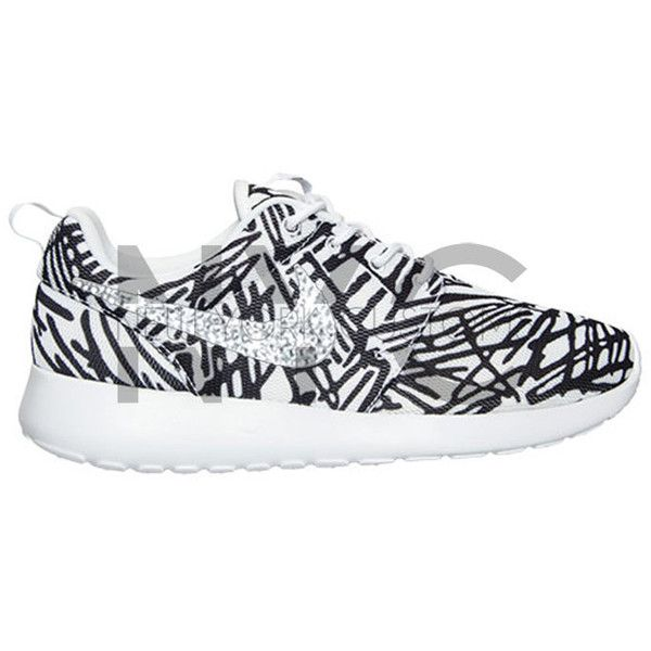 new product 8ec10 68b92 Abstract Lines Nike Roshe Run White Black Swarovski Crystal Accent...  ( 150) ❤ liked on Polyvore featuring accessories, shoes and silver