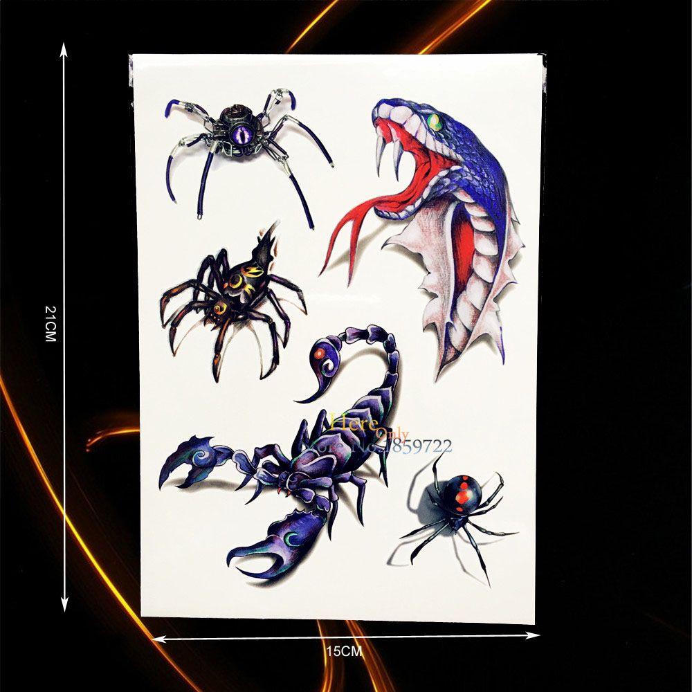 1pc flash 3d temporary tattoo ferocity spider snake