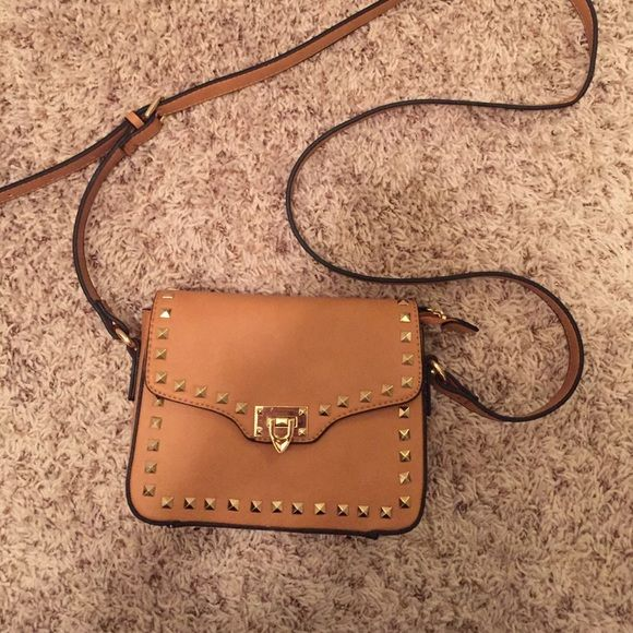 Camel studded purse Perfect condition. Brand new. Never been used!! Bags Crossbody Bags
