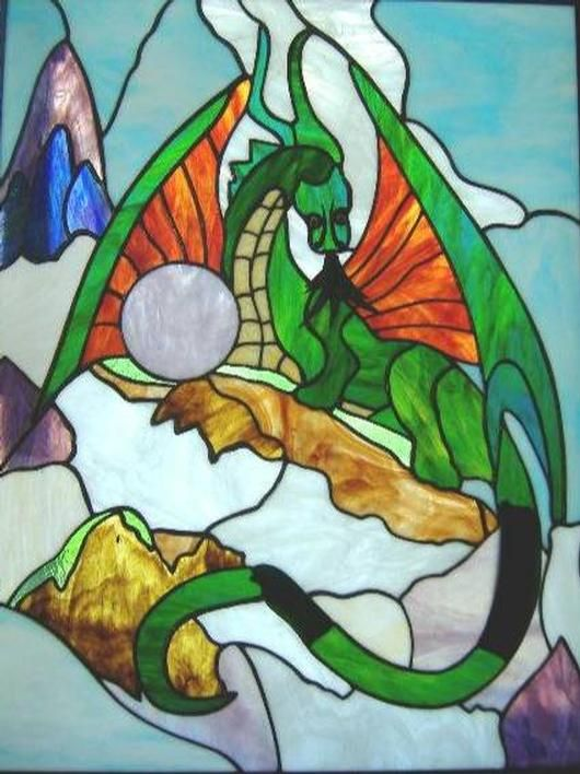 Dragon Stained Glass Panel - Delphi Stained Glass