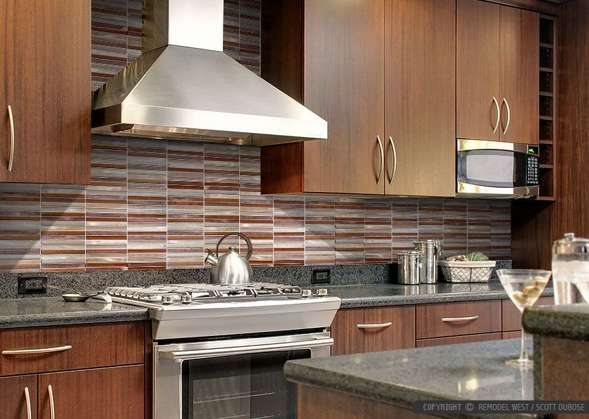 Find This Pin And More On Kitchen Ideas Brown Cabinet Metal Modern Kitchen Backsplash Tile